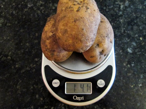 Potatoes on a scale
