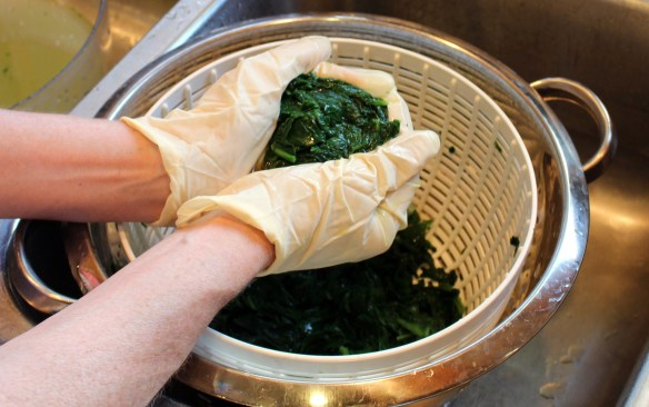 Processing spinach for freezing
