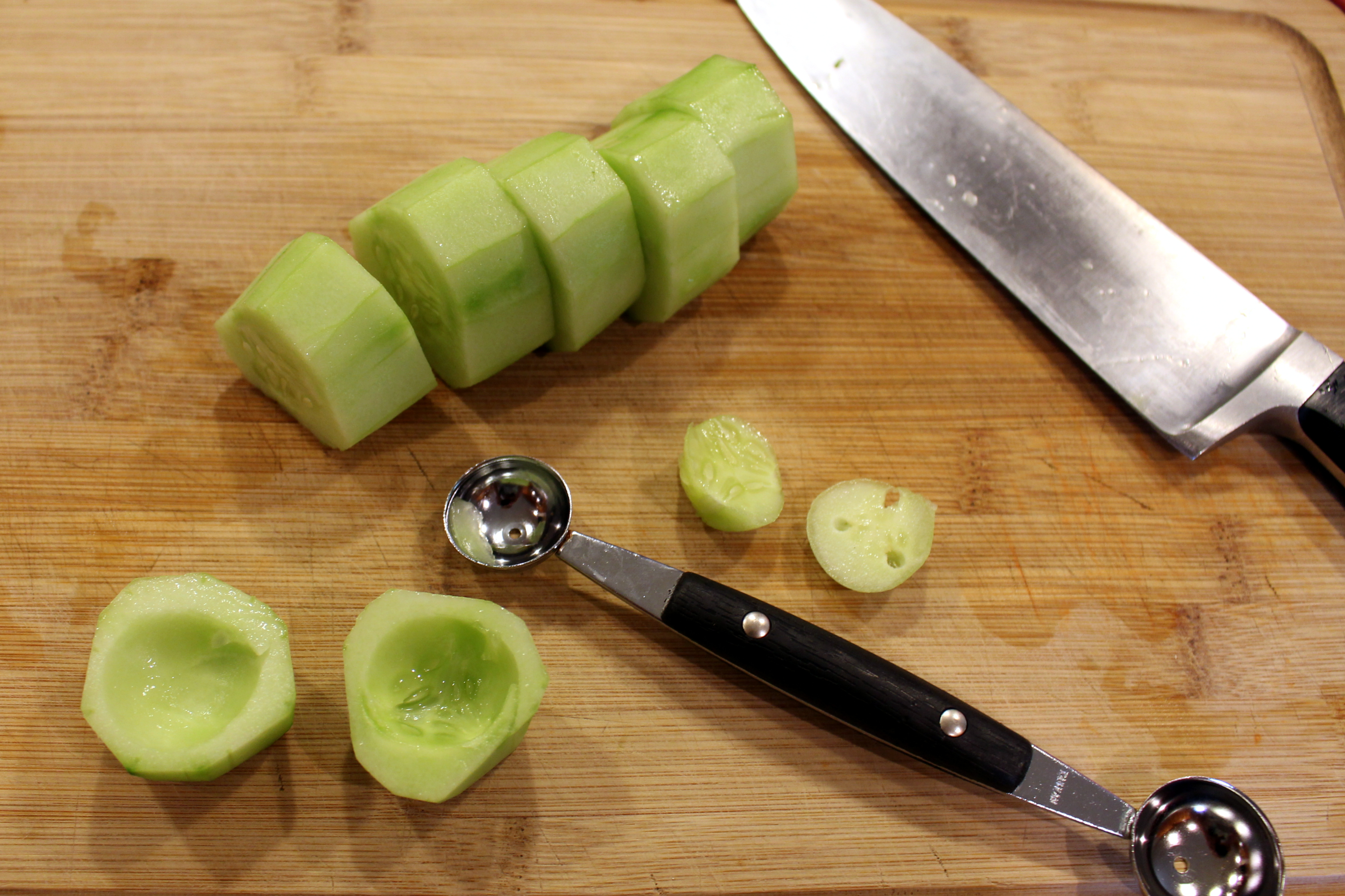 Cucumbers prepared five ways counting my for Canape cup fillings