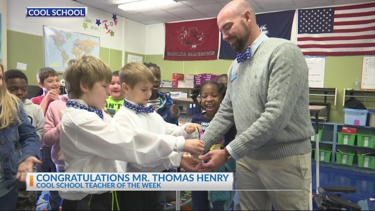 Newington Elementary Teacher Mr. Thomas Henry receives News 2 Cool School Teacher award