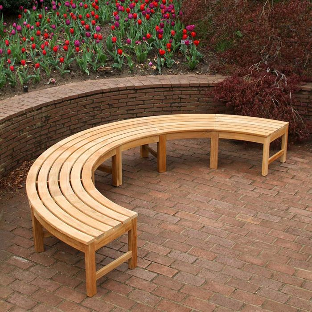circa 2 pc 10 ft diameter half circle backless bench