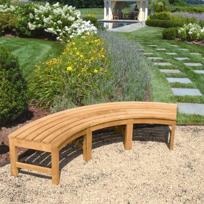 circa 5 ft radius curved backless bench