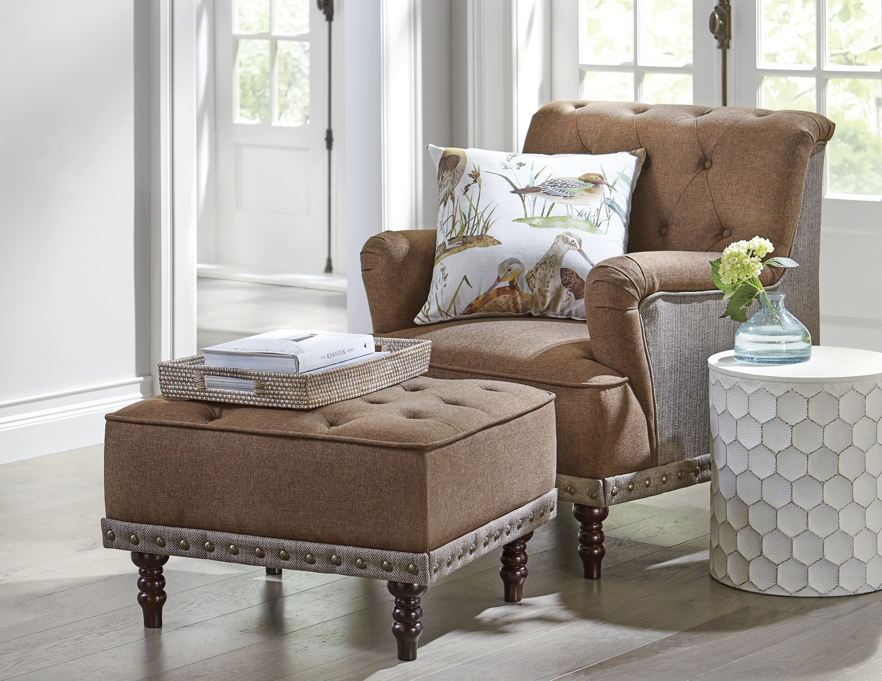 tufted chair and ottoman baby activity reviews accent nailhead country door