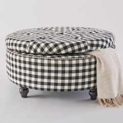 Chairs With Storage Ottoman Lenox Christmas Chair Covers Ottomans Benches Round Poufs Furniture Country Door Black Check