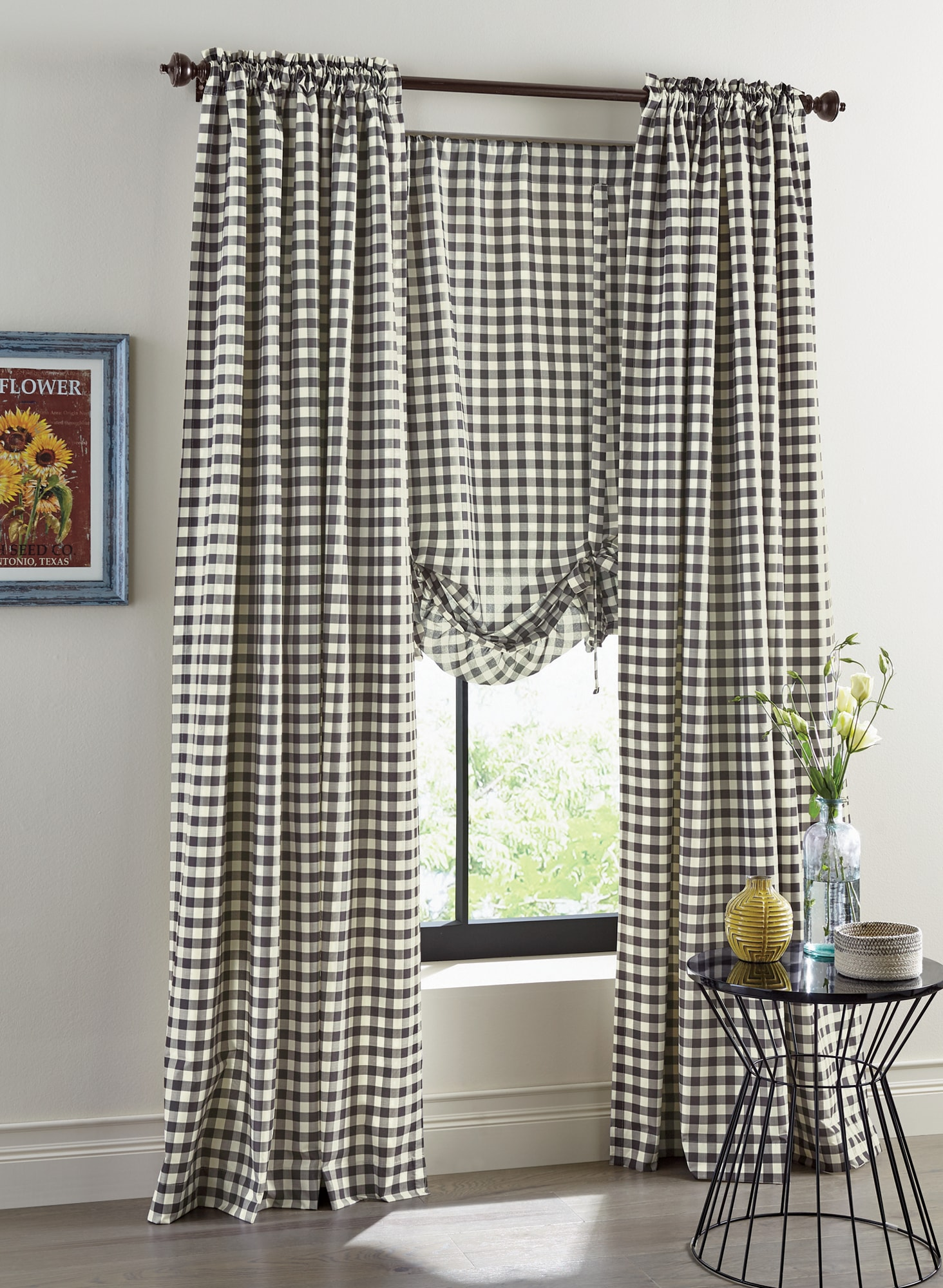 country curtains for living room light paint colors drapes sets bedroom kitchen door gingham check panel