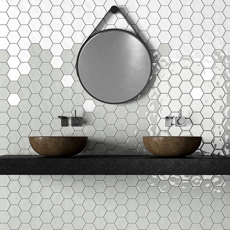 royal white glossy hexagon 5 ceramic tiles 5