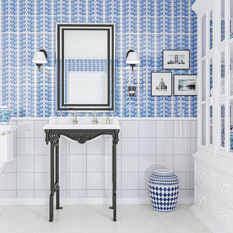 snow white blue glossy cecil stripe ceramic tiles 6x6