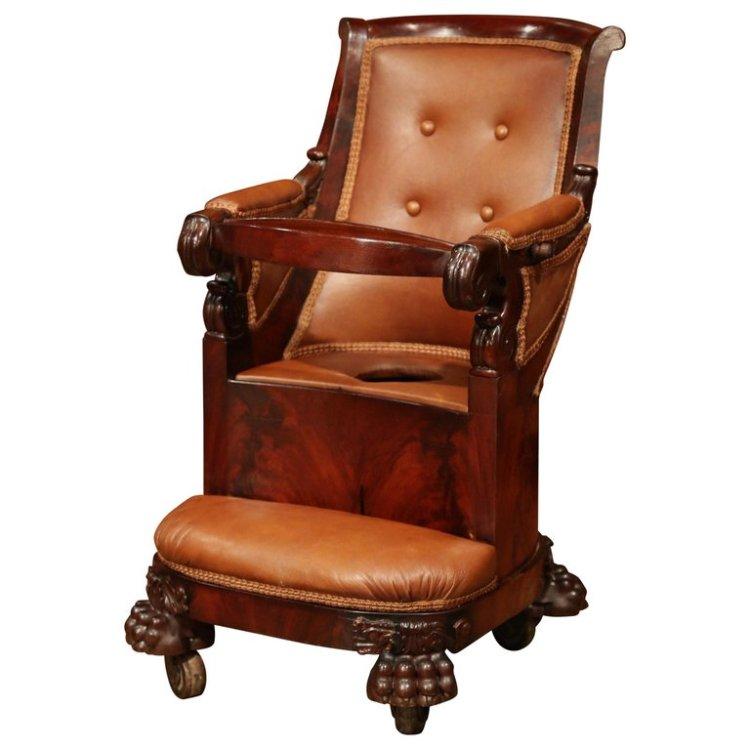 19th Century, French Napoleon III Carved Mahogany Child Potty Train Chair