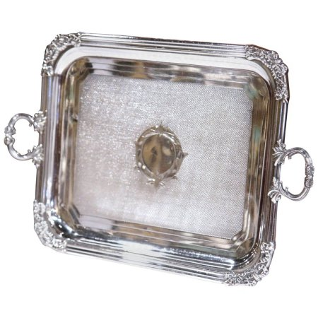 19th Century French Louis XVI Silver Plated Tray with Repousse Decor and Handles