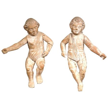 Pair of Mid-18th Century Italian Hand-Carved Cherubs with White Wash Finish