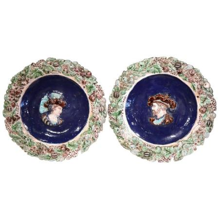 Pair of 19th Century French Hand-Painted Barbotine Chargers with Francois I