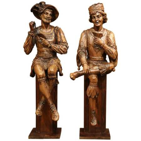 "Pair of Mid-18th Century Italian Carved Walnut Statues ""The Cards Players"""