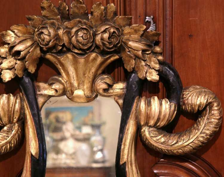 19th Century Italian Baroque Hand-Carved Gilt and Black Lacquer Mirror