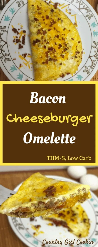 Bacon Cheeseburger Omelette (THM-S, Low Carb)