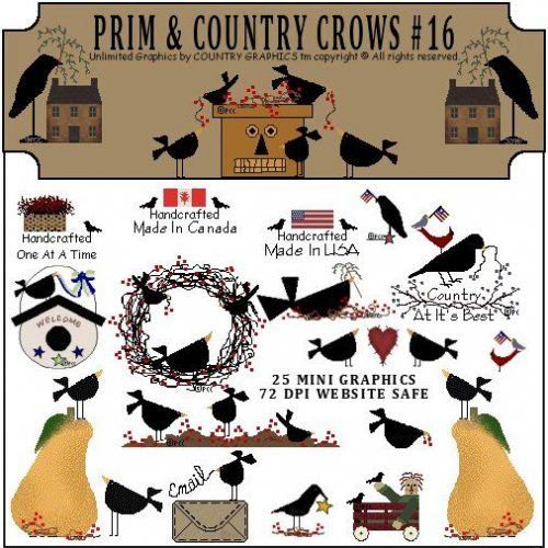 prim country crows graphic clip
