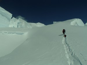 Navigating through the crevasses above the headwall