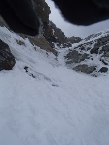 Looking up the icy gully
