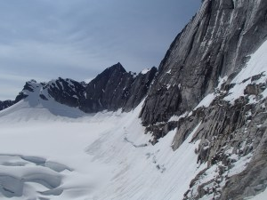 View south toward Peak 33 (which I'd climbed in 2015 from the other side). Notice the loose slides high on the glacier