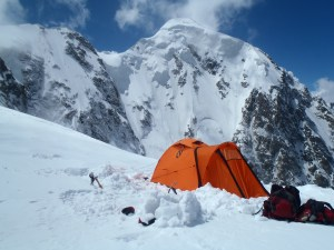 High camp at 15,000ft, with summit in the background