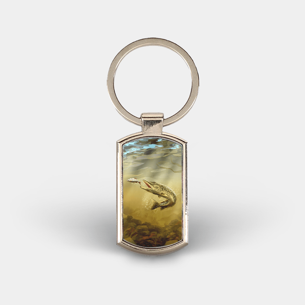 Country Images Custom Customised Customise Personalise Personalised Lozenge Metal Keyring Angler Angling Pike Fishing Gift Gifts