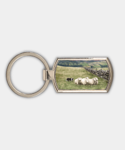 Country Images Custom Customised Customise Personalise Personalised Lozenge Metal Keyring Highland Collection Crofting Sheep Sheepdog Crofter Gift Gifts