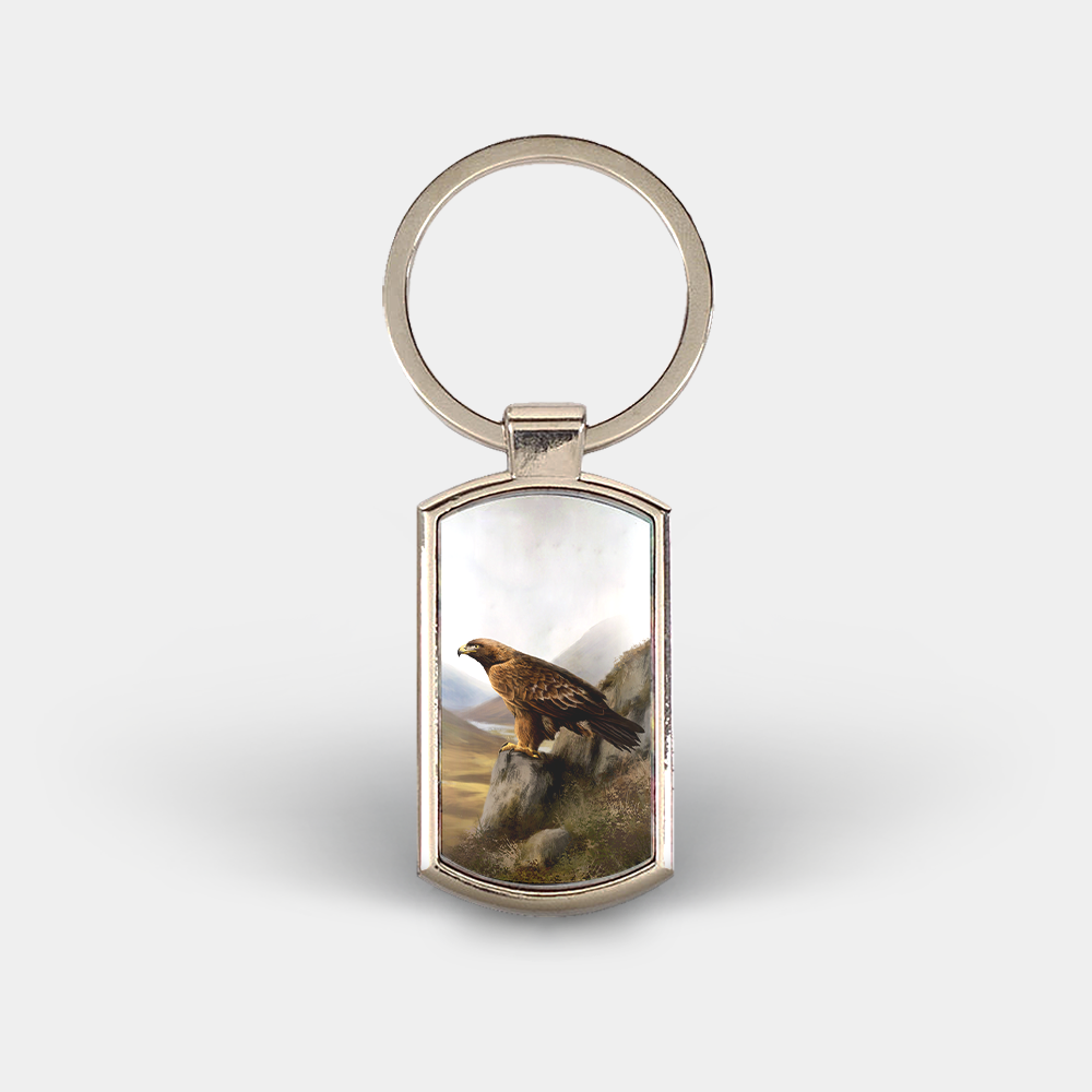 Country Images Custom Customised Customise Personalise Personalised Lozenge Metal Keyring Highland Collection Golden Eagle Gift Gifts