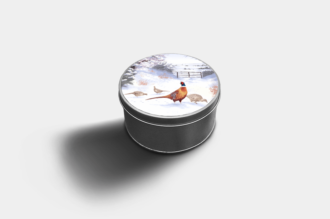 Country Images Custom Customised Personalised Round Tin Printed Gift Gifts Idea Biscuit Sweets Container Tins Highland Collection Pheasant Pheasants