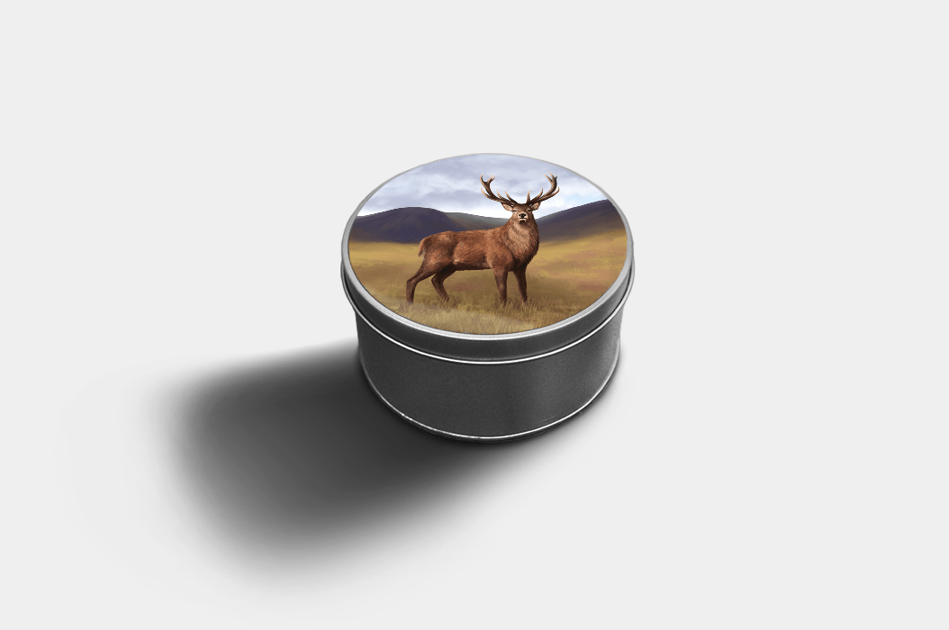 Country Images Custom Customised Personalised Round Tin Printed Gift Gifts Idea Biscuit Sweets Container Tins Highland Collection Stag Stags Deer