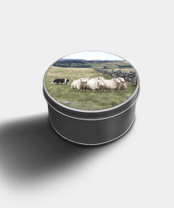 Country Images Custom Customised Personalised Round Tin Printed Gift Gifts Idea Biscuit Tins Highland Collection Sheep Sheepdog Croft Crofter Crofting