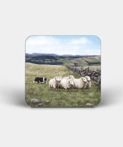 Country Images Personalised Custom Board Coaster Coasters Scotland Highland Collection Crofting Crofter Sheep Sheepdog Herding Gift Gifts