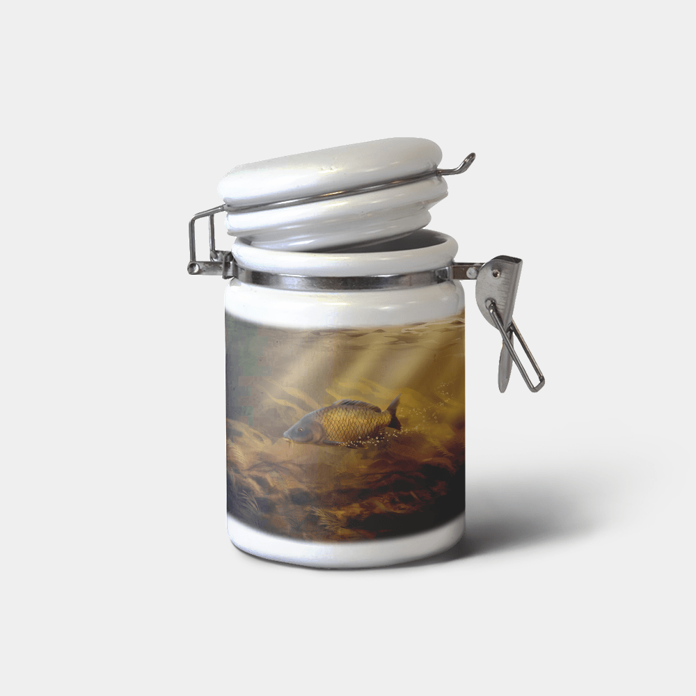 Country Images Personalised Custom Ceramic Hinged Storage Jars Sports Common Carp Fishing Angling Gift Gifts