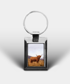 Country Images Personalised Custom Customised Rectangular Metal Keyring Keyrings Scotland Highland Cow Hairy Coo Gift Gifts 3
