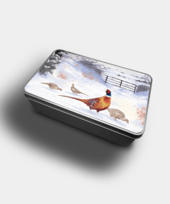 Country Images Personalised Custom Customised Rectangular Tin Tins Scotland Scottish Highland Highlands Biscuit Sweet Pheasant Pheasants