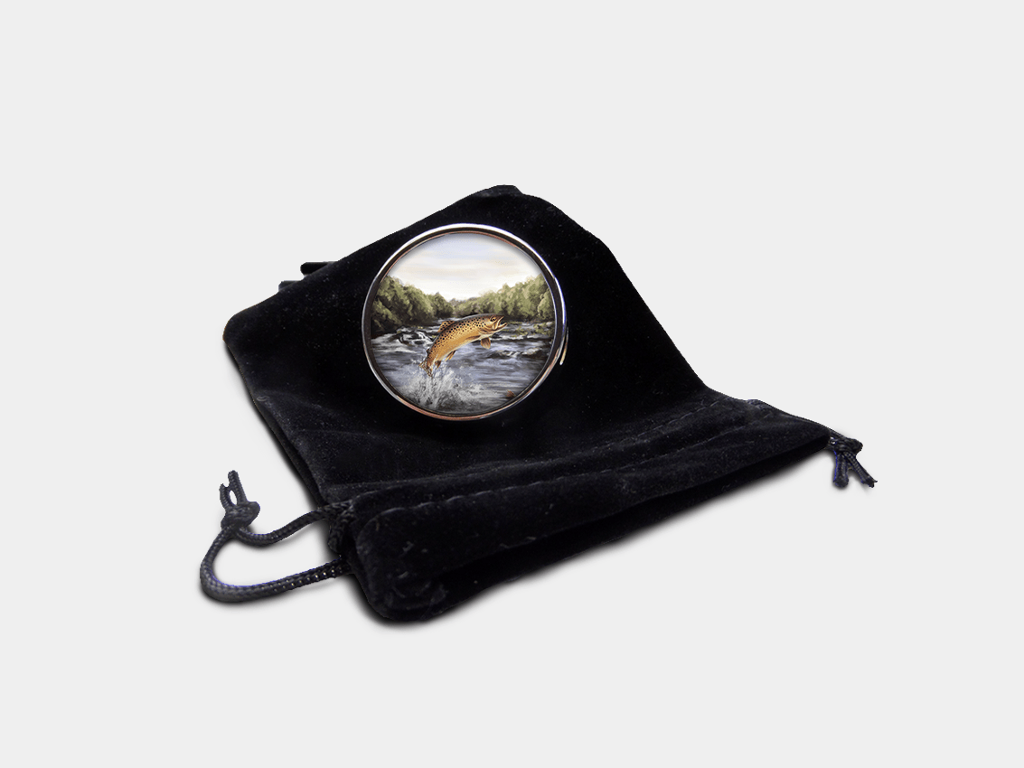Country Images Personalised Custom Round Metal Pill Boxes Box Scotland Highlands Brown Trout Angling Angler Fishing Gift Gifts 1