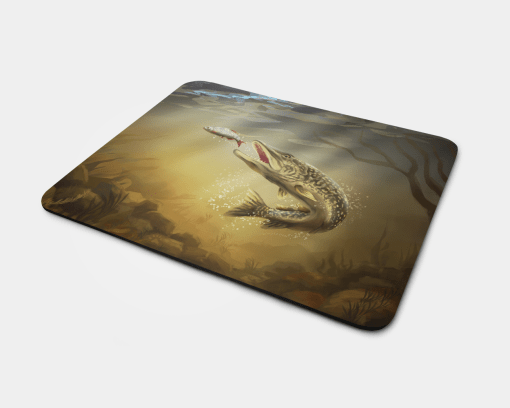 Country Images Personalised Fabric Custom Customised Mousemat Cheap Scotland UK Pike Fishing Fish Angler Angling Gift Gifts Ideas