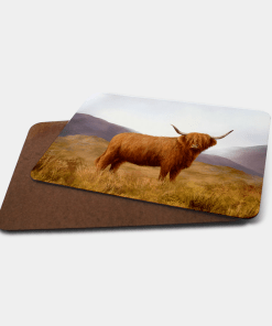 Country Images Personalised Printed Custom Placemats Tablemats Cheap Highland Collection Highland Cow Hairy Coo Scotland Scottish Gift Gifts Ideas Tableware (Board)