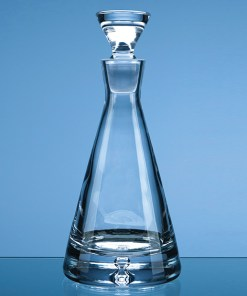 "Engraved ""Cone"" Decanter with Bubble Base"