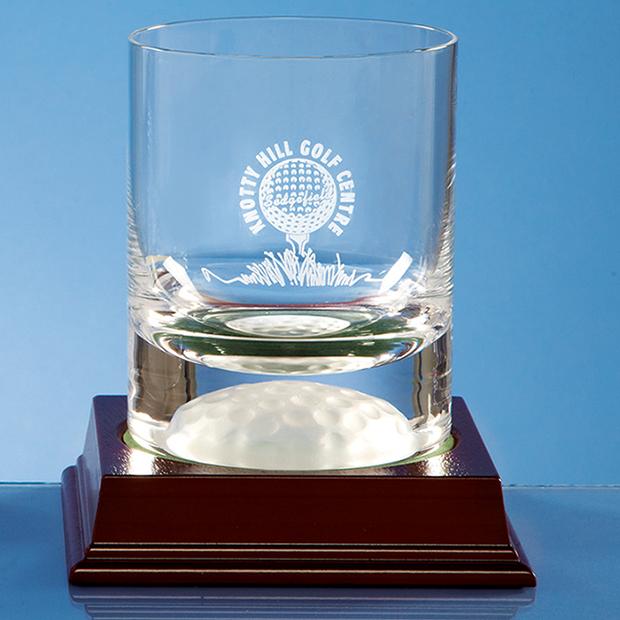 Engraved Handmade Golf Ball Base Whisky Tumbler