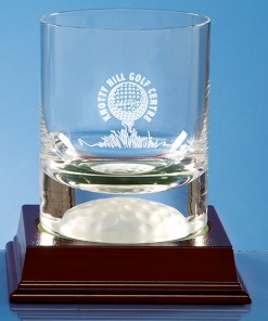Engraved Handmade Golf Ball Base Whisky Tumbler