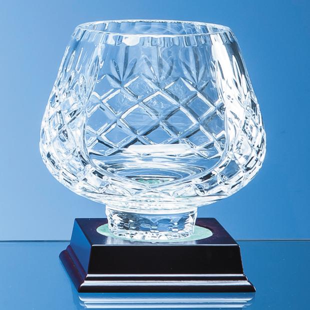 Engraved Lead Crystal Trophy Panel Bowl