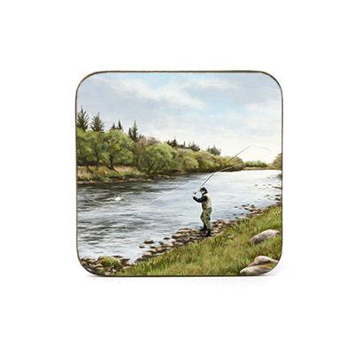 Highland Collection - Square Coaster (Fly Fishing) Personalised Gift