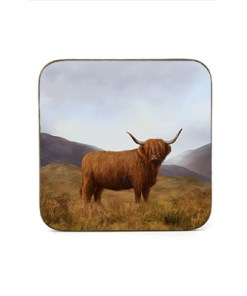 Highland Collection - Square Coaster (Highland Cow) Personalised Gift