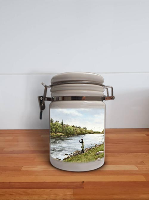 Highland Collection - Storage Jar Container (Fly Fishing) Personalised Gift