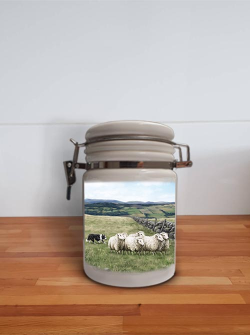 Highland Collection - Storage Jar Container (Sheep & Sheepdog) Personalised Gift