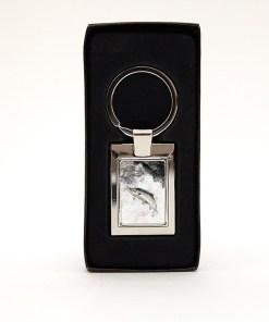 Highland Collection - Rectangular Keyring (Leaping Salmon)