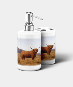 Country Images Personalised Custom Ceramic Bathroom Toothbrush Holder Soap Dispenser Set Highland Collection Highland Cow Gifts