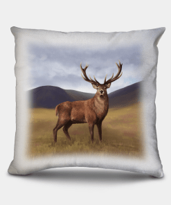 Country Images Personalised Highland Collection Scottish Red Deer Stag Cheap Linen Cushion Scotland UK 2