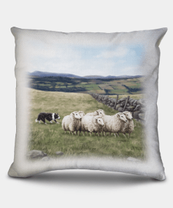 Country Images Personalised Highland Collection Scottish Sheep and Sheep Dog Cheap Linen Cushion Scotland UK 2