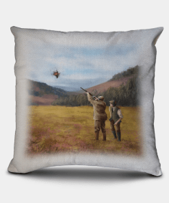 Country Images Personalised Sporting Clay Pigeon Shooting Hunting Cheap Linen Cushion Scotland UK 1