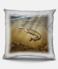 Country Images Personalised Sporting Pike Fishing Angling Angler Cheap Linen Cushion Scotland UK 2
